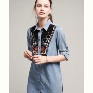 Anthropologie Murlet Chambray Enbroidered Tunic